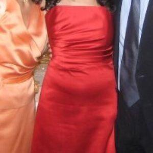 Like new ABS Allen Schwartz Red formal satin dress